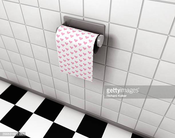 toilet paper with heart shaped pattern - bathroom stock illustrations