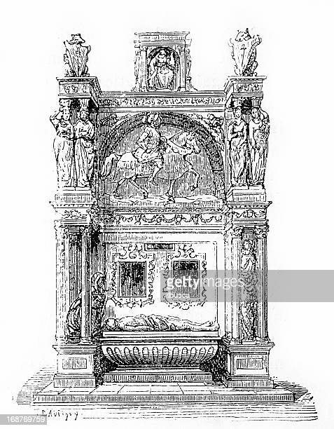 tomb in rouen - rouen stock illustrations, clip art, cartoons, & icons