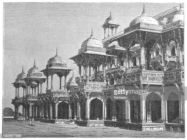 tomb of akbar the great - sandstone stock illustrations, clip art, cartoons, & icons