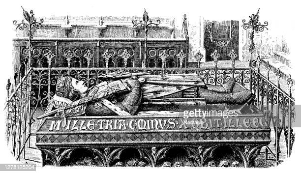 tomb of duke henry iv of breslau, 13th century, is one of the most beautiful monuments of german art in the middle ages, stands in the collegiate church of the holy cross and st. bartholomew of breslau, poland - henri iv of france stock illustrations