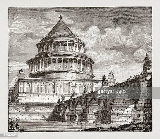 tomb of emperor hadrian - castel sant'angelo stock illustrations