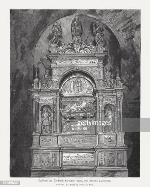 tomb of girolamo basso, sculpted by andrea sansovino, rome, italy - high renaissance stock illustrations