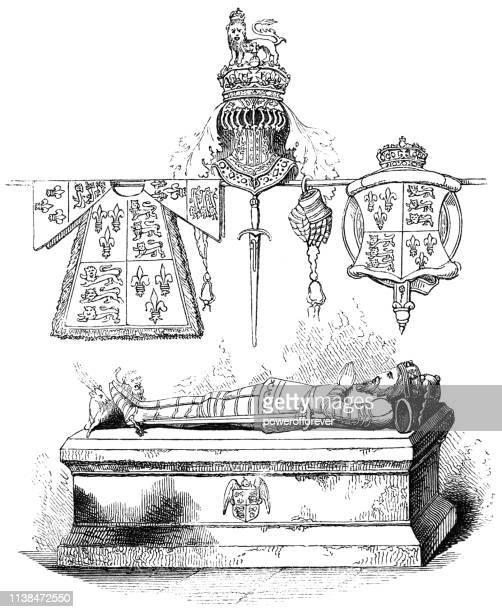 tomb of henry vi, king of england at st george's chapel in windsor, england - windsor castle stock illustrations