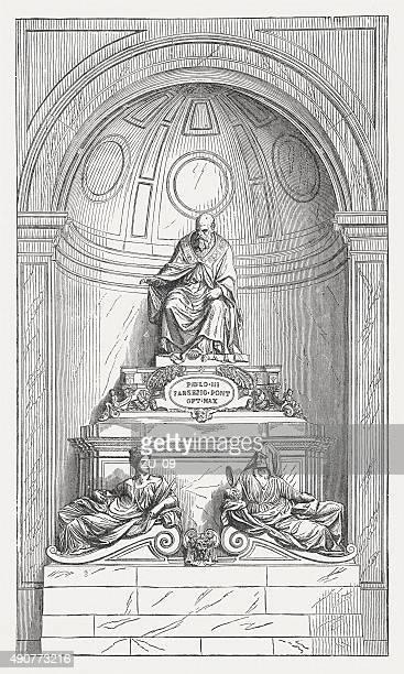 ilustrações de stock, clip art, desenhos animados e ícones de túmulo de paul iii, guglielmo della porta, publicada 1878 - st. peter's basilica the vatican