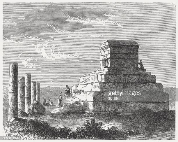 tomb of persian king cyrus (c.590/580-530 bc), pasargadae, iran - ancient babylon stock illustrations