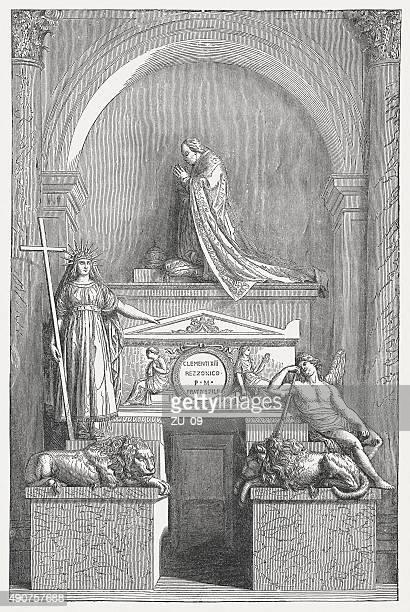 ilustrações de stock, clip art, desenhos animados e ícones de túmulo de papa clément xiii por canova, publicada em 1878 - st. peter's basilica the vatican