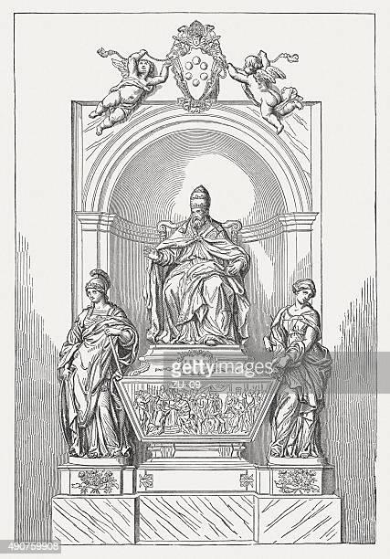ilustrações de stock, clip art, desenhos animados e ícones de túmulo de papa leão xi, alessandro algardi, publicada 1878 - st. peter's basilica the vatican