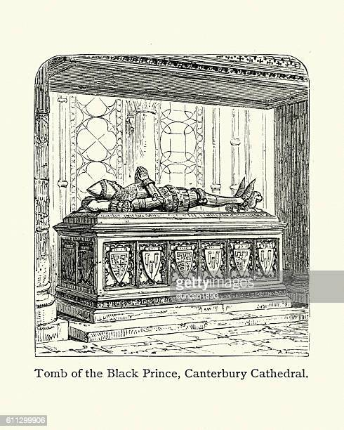 tomb of the black prince, canterbury cathedral - effigy stock illustrations