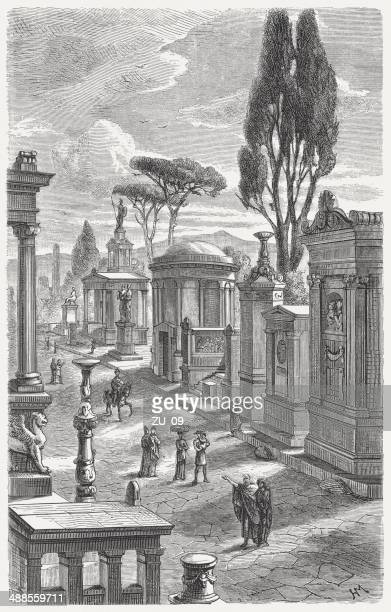 tombs in ancient athens, wood engraving, published in 1882 - athens georgia stock illustrations, clip art, cartoons, & icons