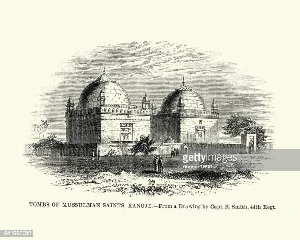 tombs of mussulman saints, kanoje, 19th century - tomb stock illustrations