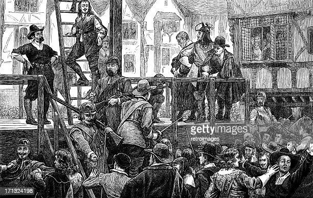 Tomkins and Challoner, led to gallows, Holborn, London, 1643 (illustration)