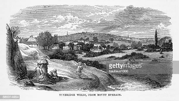 tonbridge wells, in kent, england victorian engraving, circa 1840 - steeple stock illustrations, clip art, cartoons, & icons