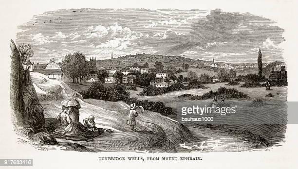 tonbridge wells, in kent, england victorian engraving, circa 1840 - british culture stock illustrations