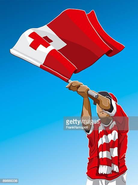 tonga waving flag soccer fan - rugby shirt stock illustrations, clip art, cartoons, & icons