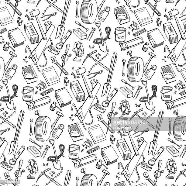 tools and tires pattern - tire vehicle part stock illustrations, clip art, cartoons, & icons