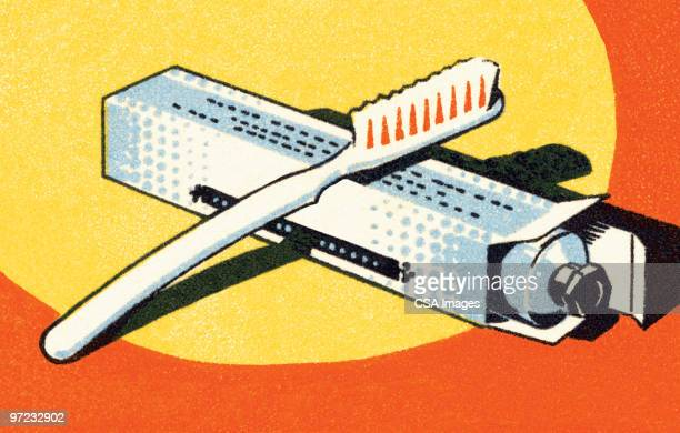 toothbrush and toothpaste - toothpaste stock illustrations