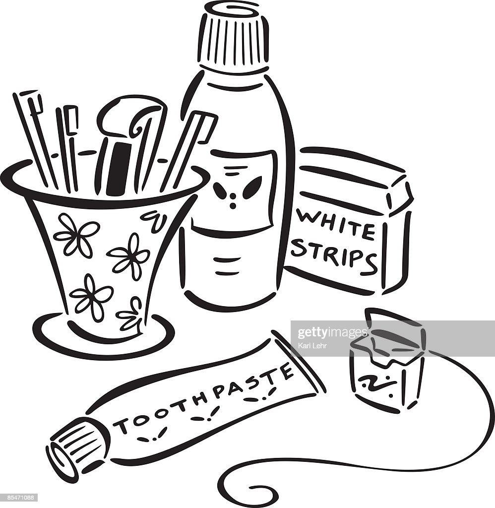 Toothpaste,toothbrushes,mouth wash,floss and teeth whitener : Stock Illustration