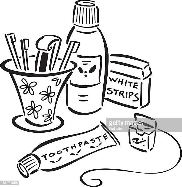toothpaste,toothbrushes,mouth wash,floss and teeth whitener - mouthwash stock illustrations