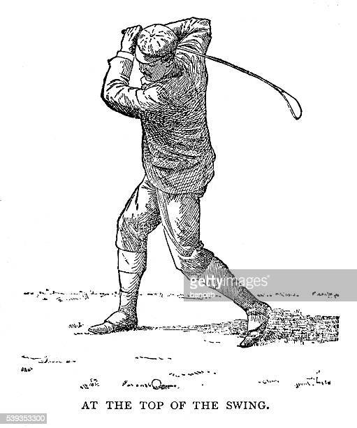 top of the swing - golf swing stock illustrations, clip art, cartoons, & icons