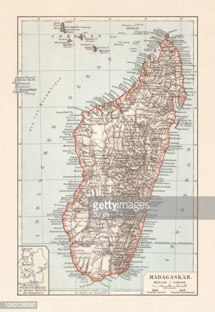 topografic map of madagascar, lithograph, published in 1897 - madagascar stock illustrations, clip art, cartoons, & icons