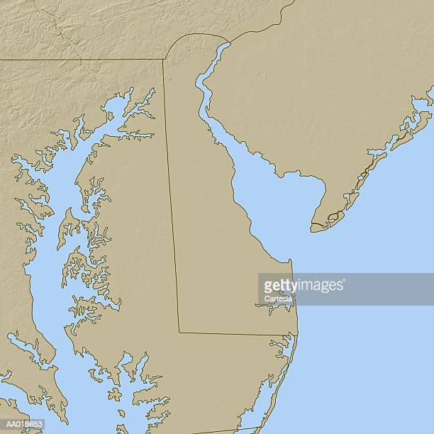 topographic map of delaware - delaware bay stock illustrations, clip art, cartoons, & icons