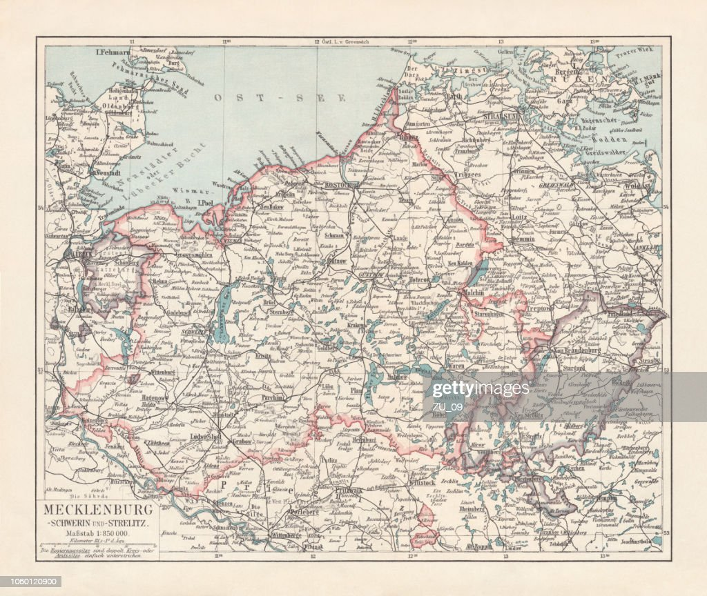 Topographic Map Of Mecklenburg Germany Lithograph Published In 1897 ...