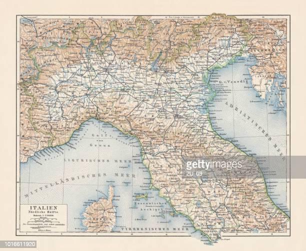 ilustraciones, imágenes clip art, dibujos animados e iconos de stock de mapa topográfico del norte de italia, litografía, publicado en 1897 - países del golfo