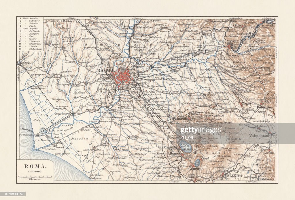 Topographic Map Of Rome.Topographic Map Of Rome Italy And Surroundings Lithograph Published