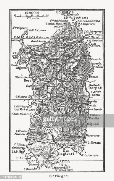 topographic map of sardinia, italy, wood engraving, published 1897 - sardinia stock illustrations, clip art, cartoons, & icons