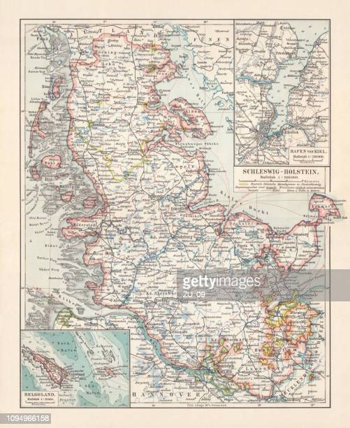 Topographic map of Schleswig-Holstein, German Empire, lithograph, published in 1897