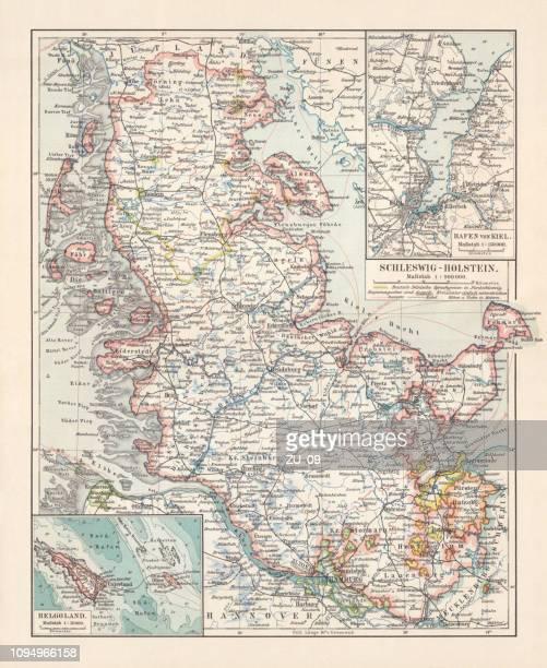 ilustraciones, imágenes clip art, dibujos animados e iconos de stock de mapa topográfico de schleswig-holstein, imperio alemán, litografía, publicado en 1897 - países del golfo