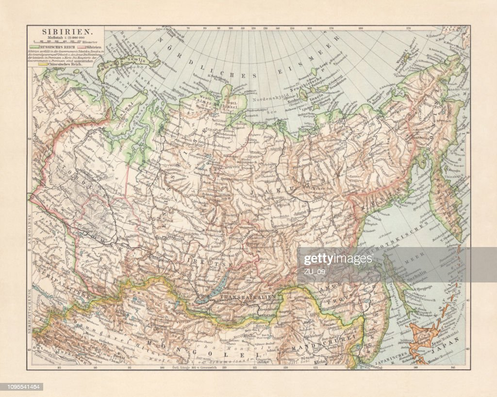 Picture of: Topographic Map Of Siberia Russia Lithograph Published In 1897 High Res Vector Graphic Getty Images