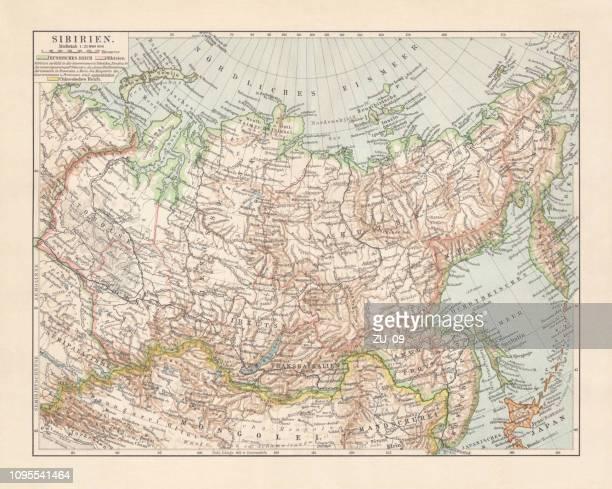 シベリア、ロシア、リトグラフ、1897 年に公開の地形図 - 満州地方点のイラスト素材/クリップアート素材/マンガ素材/アイコン素材