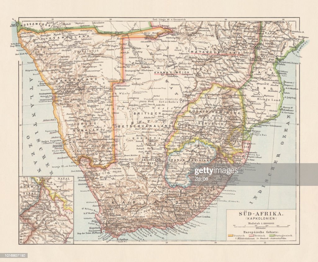 Namibia On Africa Map.Topographic Map Of South Africa And Namibia Lithograph Published