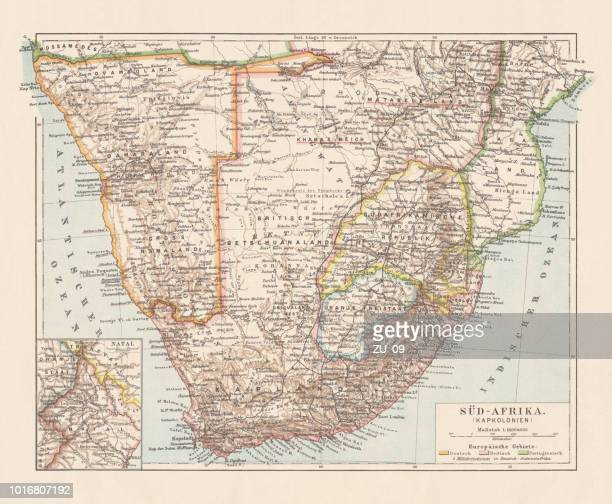 topographic map of south africa and namibia, lithograph, published 1897 - zimbabwe stock illustrations, clip art, cartoons, & icons