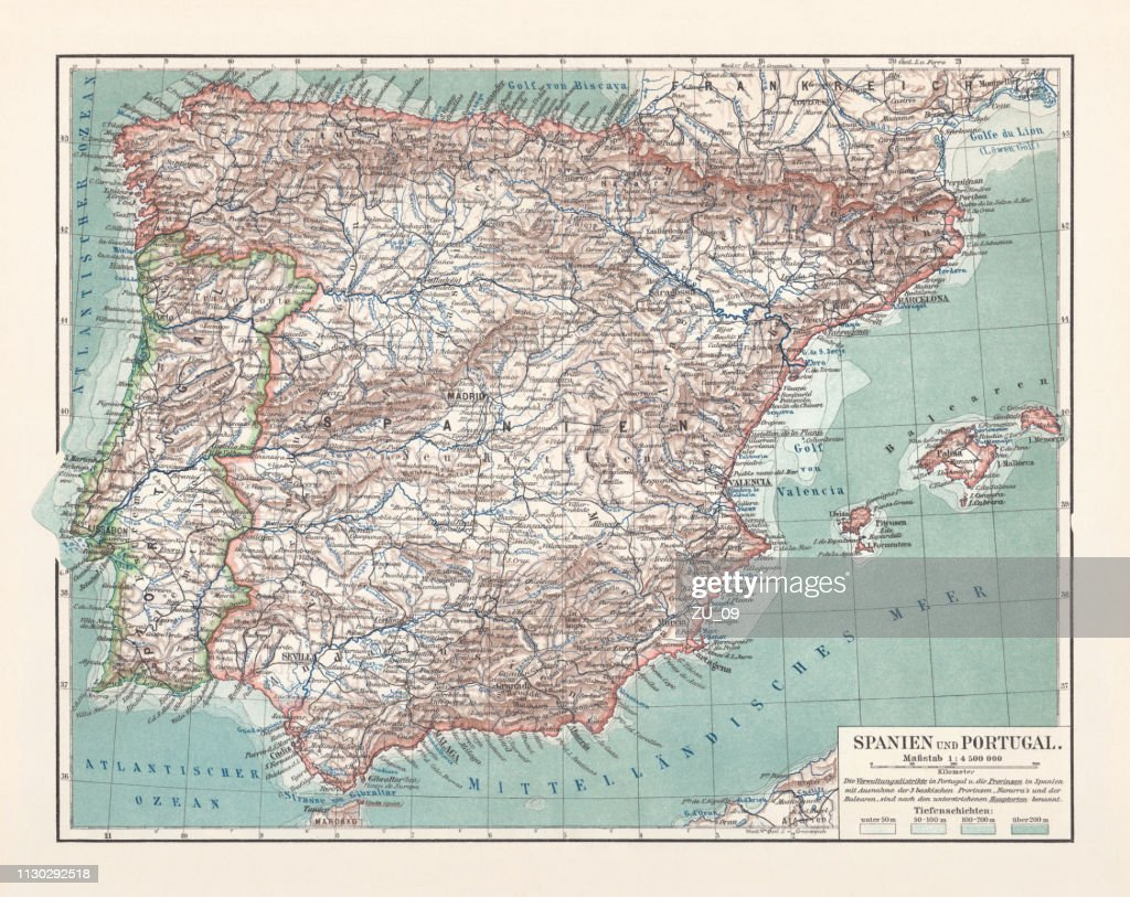 Topographical Map Of Spain.Topographic Map Of Spain And Portugal Lithograph Published In 1897