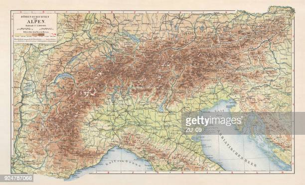 topographic map of the european alps, lithograph, published in 1897 - piedmont italy stock illustrations