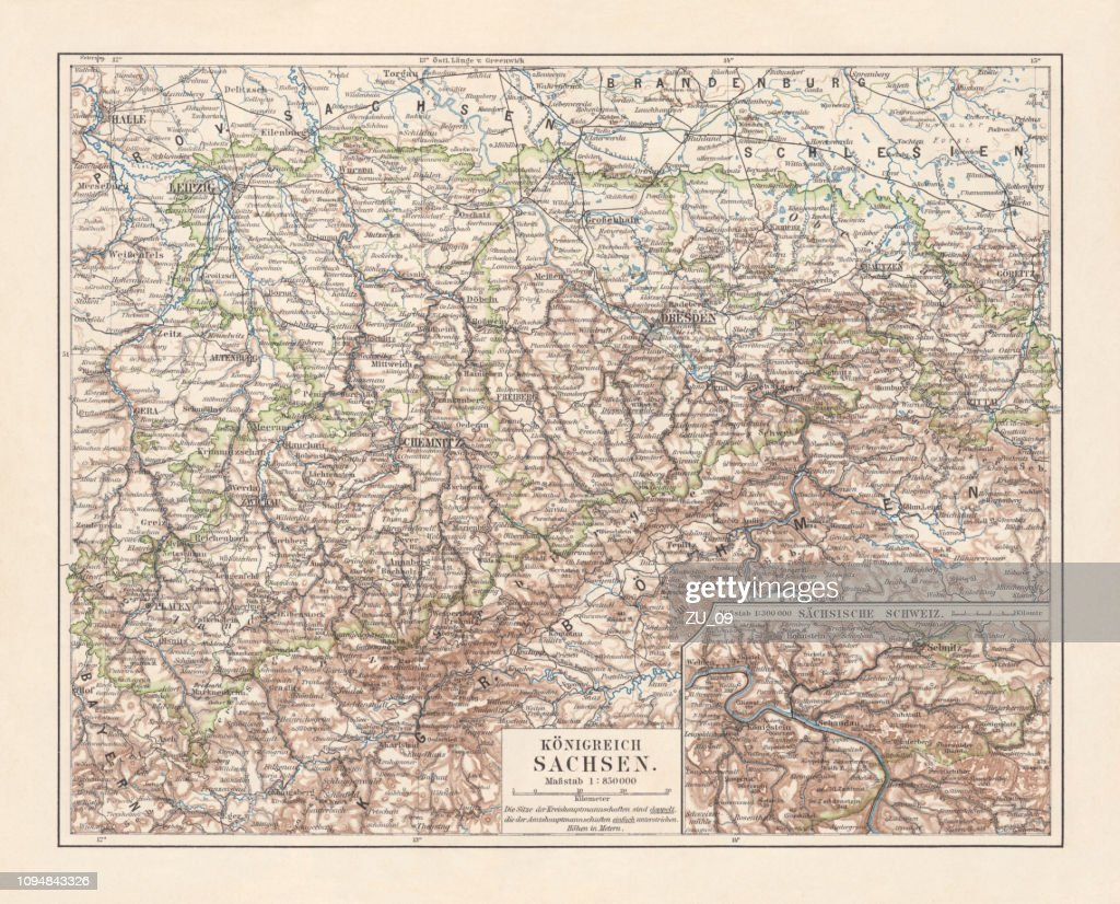 Topographic Map Of The Kingdom Of Saxony Lithograph 1897 Stock ...