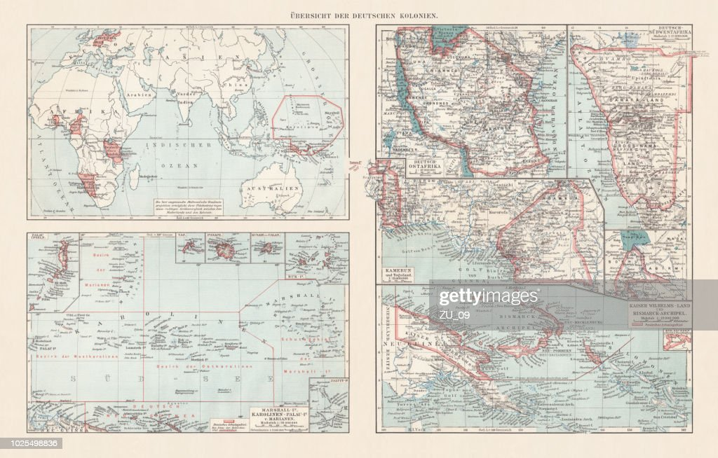 Topographic maps of the former German colonies, lithograph, published 1897 : stock illustration