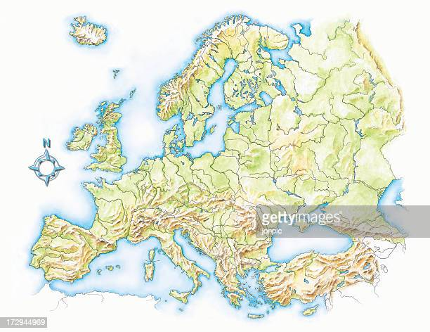 topographical map of europe, hand painted water colour illustration - bay of biscay stock illustrations, clip art, cartoons, & icons