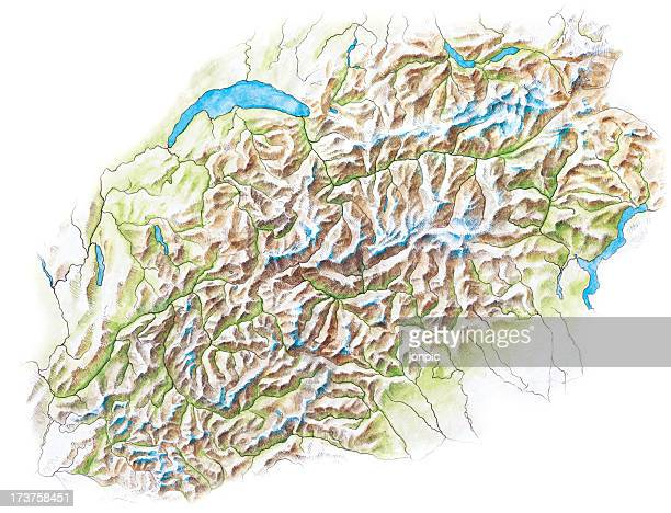Topographical Map of the Alps - Hand Painted