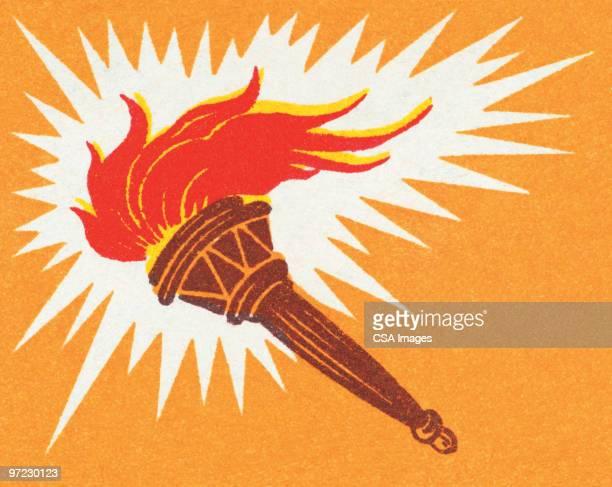 ilustrações, clipart, desenhos animados e ícones de torch - tocha de fogo