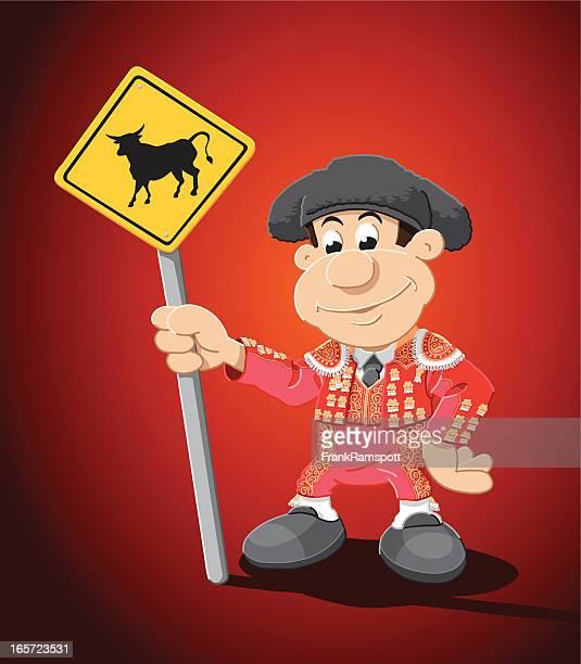 torero cartoon man bull sign - bullfighter stock illustrations, clip art, cartoons, & icons