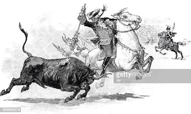 Torero a caballo poner la lanza en el toro