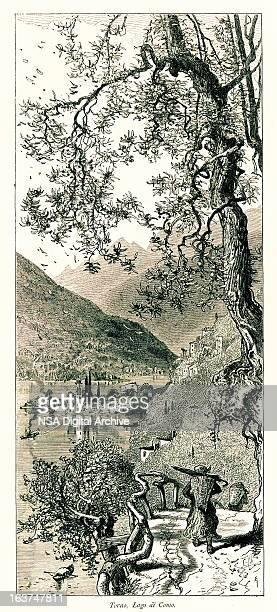 torno, lake como, italy i antique european illustrations - village stock illustrations