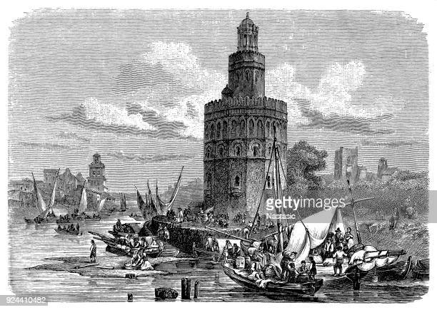 torre del oro, seville, spain - seville stock illustrations, clip art, cartoons, & icons