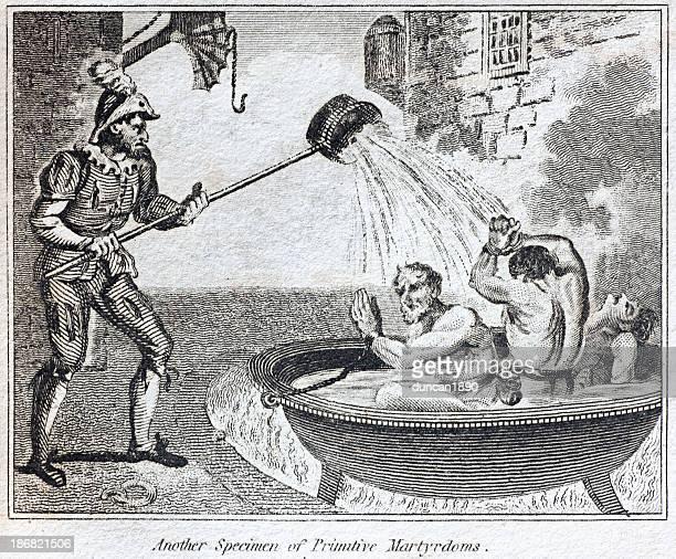 torture boiled alive - torture stock illustrations