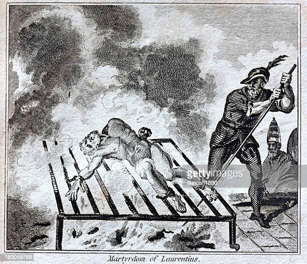 torture: martyrdom of saint lawrence - martyr stock illustrations