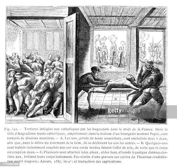torture of catholics - torture stock illustrations