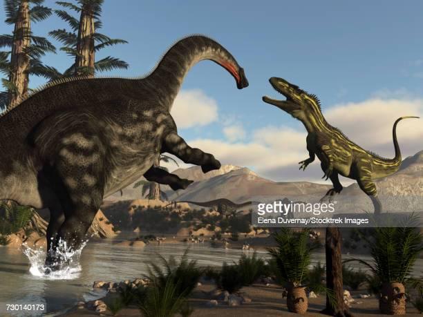 ilustraciones, imágenes clip art, dibujos animados e iconos de stock de torvosaurus dinosaur fighting an apatosaurus. - triásico